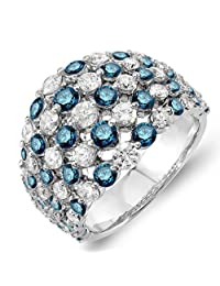 3.25 Carat (ctw) 14k White Gold Real Round White & Blue Diamond Ladies Cocktail Right Hand Ring 3 1/4 CT