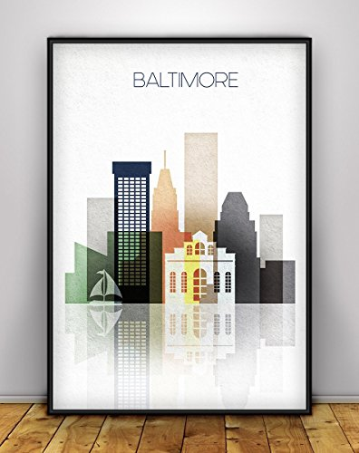 Baltimore Skyline, Baltimore Maryland Poster, Cityscape Art Print, City poster, Maryland Cityscape Decor, Digital Print, Baltimore Wall Art, Unframed - Mail Arrival Times