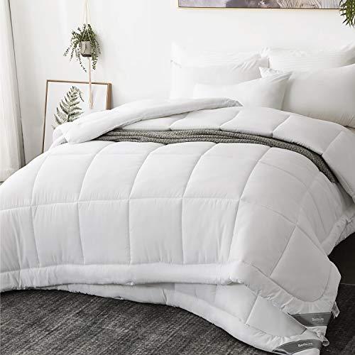 Bedsure Edredon Nordico Relleno Cama 150/160 Doble - 240x220 cm Blanco, 150gr+300gr de Fibra Suave y Antiacaro, Reversible y Moderno para 4 Estaciones