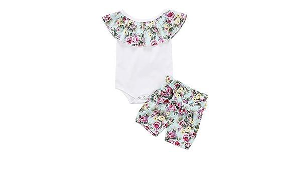 Wang-RX Baby Girl Kids Cotton Romper Mono Crop Tops Tank + ...