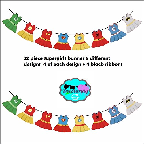 upergirls banner, supergirls birthday banner party -32 piece +black ribbon ()