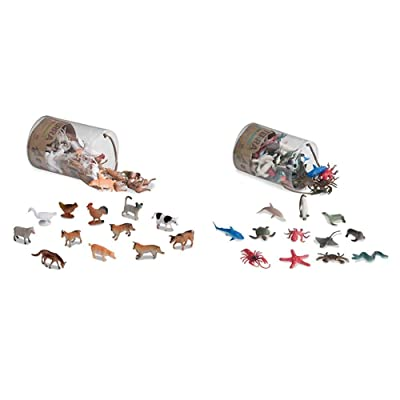Terra by Battat – Farm Animals – Assorted Miniature Farm Animal Toy Figures & Cake Toppers for Kids 3+ (60 Pc) & Sea Animals – Assorted Miniature Sea Animals, Fish Toys, & Cake Toppers: Toys & Games
