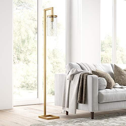 Henn Hart FL0418 Brass Finish Floor LampSeeded Shade Table Lamp