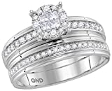 14k White Gold Trio His & Hers Diamond Cluster Matching Bridal Wedding Ring Band Set (5/8 Cttw)