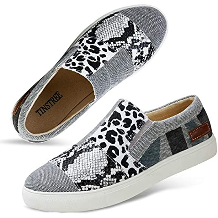 Women Slip-on Sneakers Leopard Snakeskin Stitching Fashion Canvas Sneaker Shoes No Chill Flat Loafers Casual Platform Comfortable Walking Sports Shoes