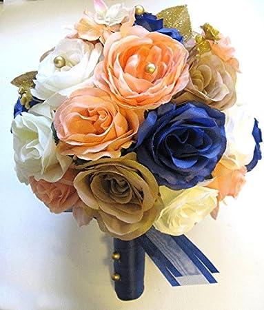 Amazon.com: Wedding Silk flowers Bouquet Bridal PEACH NAVY Champagne ...