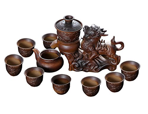 Chinese Hot Tea Service Set Handmade Automatic Kylin Design Firewood Crude Pottery Kongfu Teapot W/ 8 Teacup Clay Gift Set for Adults Parents Tea Lovers Business Friend Wedding Christmas Decor