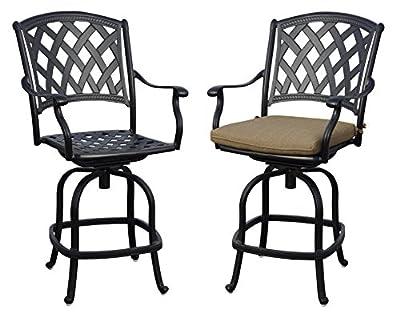 Darlee 201630-7CH-2 Cast Aluminum Swivel Counter Height Bar Stool & Seat Cushion (Set of 2), Antique Bronze