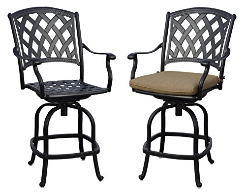 Darlee 201630-7CH-2 Cast Aluminum Swivel Counter Height Bar Stool & Seat Cushion (Set of 2), Antique (Aluminum Outdoor Bar Stools)