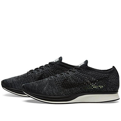 Nike Mens Flyknit Racer Blackout Knit By Night Nero / Nero-grigio Scuro-volt Mesh