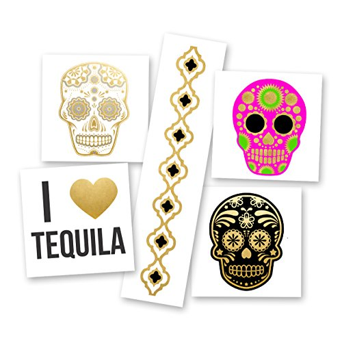 FIESTA VARIETY SET set of 25 assorted premium waterproof metallic gold, silver and black jewelry temporary foil party Flash Tattoos - skull, bracelet, tequila, sugar skull, temporary tattoo, Flash Tat