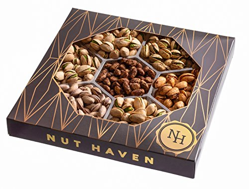 Nut Haven Gourmet Assorted Pistachio Nut Gift Basket/Box ~ variety of freshly roasted 7 section nut tray ~ Great for: Corporate, Holiday, Birthday, Get well, Thank you, Men & Women, snack ~ Prime by Nut Haven