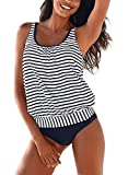 Happy Sailed Women Sporty Color Block Print Tankini Top Bikini Bottoms Tankini Set Outdoor Swimsuit X-Large Blue