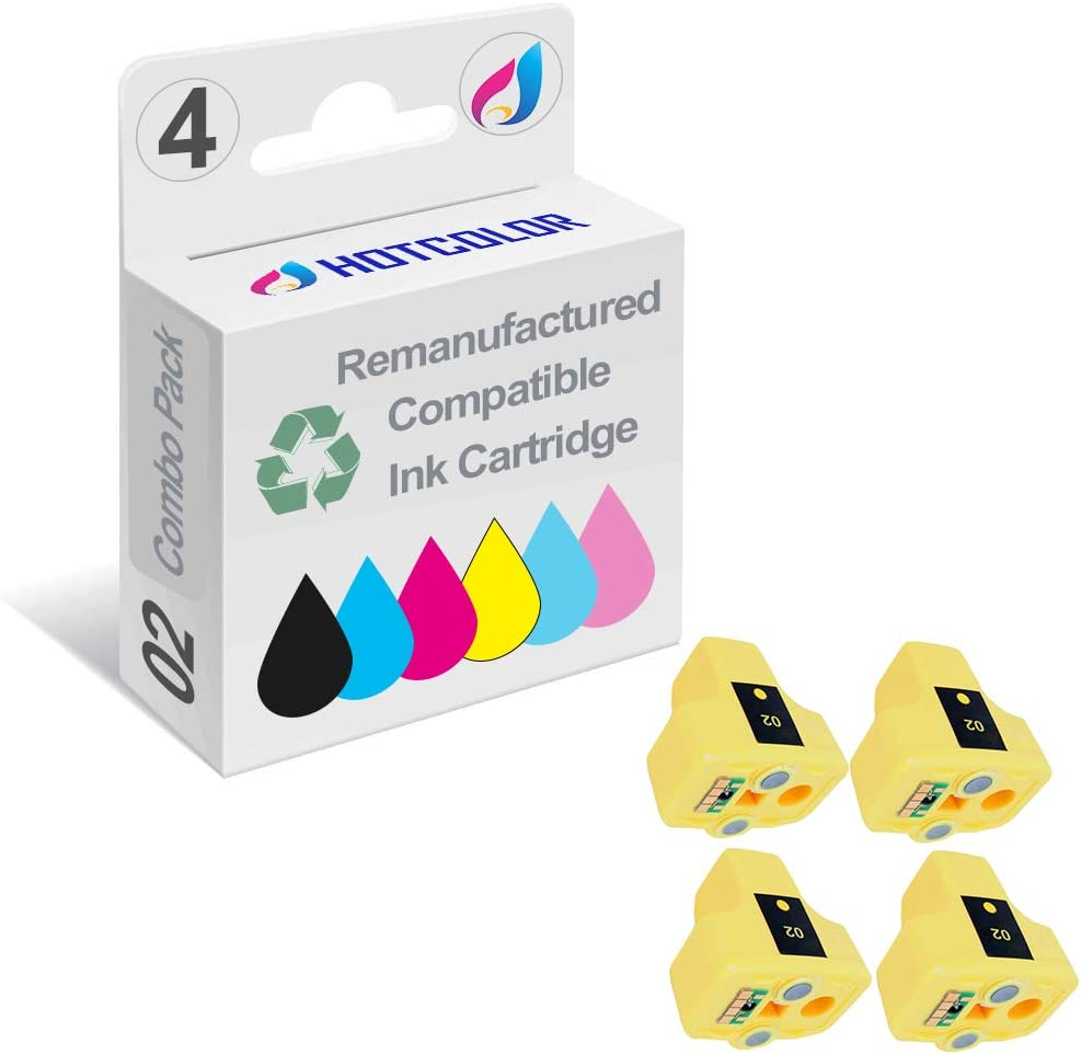 HOTCOLOR 4 Pack 02 02XL Yellow Remanufactured Inkjet Cartridges for HP 02XL HP02XL HP 02 Yellow C8773WN#140 Ink Cartridge