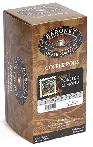 Baronet Coffee Toasted Almond Medium Roast, 18-Count Coffee Pods (Pack of 3) (Almond Toasted)