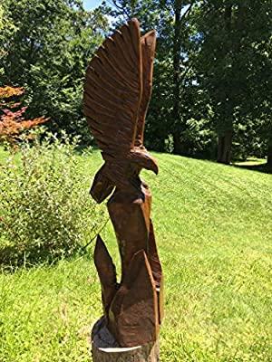 Eagle Chainsaw Carving 50 Inches Tall, Canyon Brown