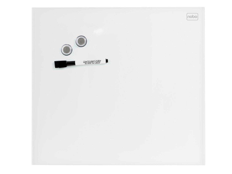 Nobo Diamond Lavagna Magnetica in Vetro, 300 X 300 mm Square Tile Design, Pennarello Incluso, Magneti e Kit di Montaggio, Bianco, 1903956 ACCO Brands