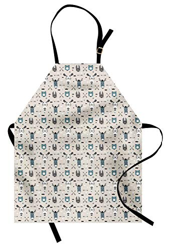 (Ambesonne Doodle Apron, Childish Reindeer Heads with Antlers Hipster Tiger Glasses Mustache Arrows, Unisex Kitchen Bib Apron with Adjustable Neck for Cooking Baking Gardening, Eggshell Teal Grey)