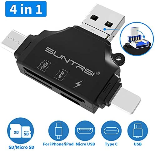 YSM Sd Card Reader for iPhone Sd Card Reader 4-in-1 Card Reader Drive Micro SD and TF Card Reader Adapter for iPhone 6 7 8 X for Ipad MacBook Camera Android Type C,Black