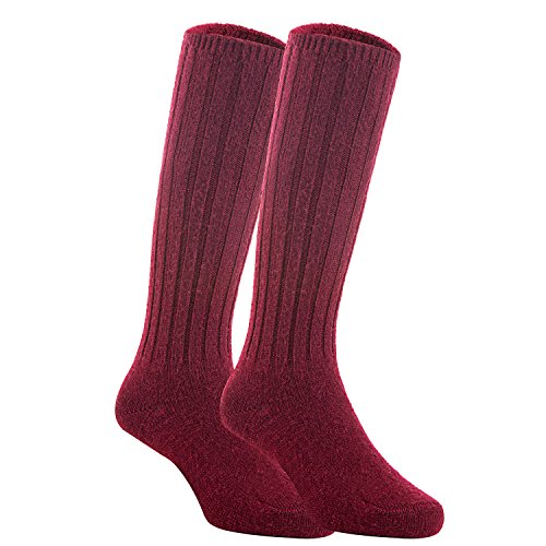 1/2 4 Boot Inch Knee (Meso Unisex Children 2 Pairs Knee High Wool Boot Socks MFS02 Size 4-6Y(Wine))