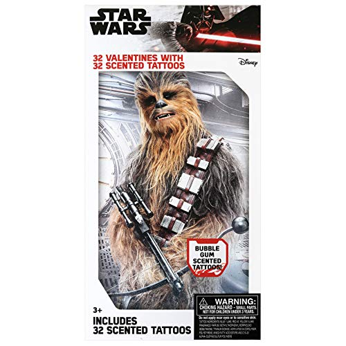 Paper Magic Group 4515555-ACAMZ Disney Star Wars Valentine's Day Cards and Scented Temporary Tattoos for Kids, 64 Piece