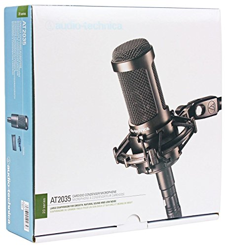Audio Technica AT2035 Cardioid Condenser Studio Microphone//Mic+Case+Headphones