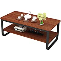 gootrades 47'' Rectangular Coffee Table, 2 Tier Open Storage Shelf, Sofa Tables, Cocktail Tables, End Tables, Telephone Tables for Living Room