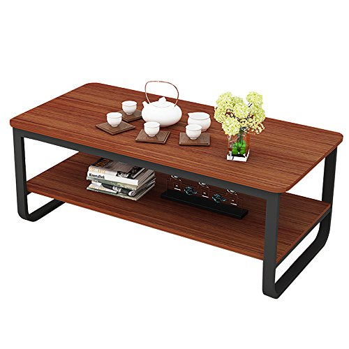 Living Room Rattan End Table (gootrades 47'' Rectangular Coffee Table, 2 Tier Open Storage Shelf, Sofa Tables, Cocktail Tables, End Tables, Telephone Tables for Living Room)