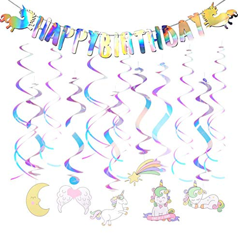 Unicorn Happy Birthday Banner - Unicorn Party Supplies Decorations - Unicorn Hanging Swirl Birthday Party Supplies