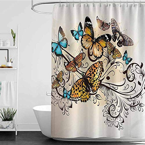 shower curtains for bathroom ocean Ecru Butterfly Decor,Monarch Butterflies Vintage and Damask Ombre Background Pattern,Fabric,Monarch Turquoise Ecru W72