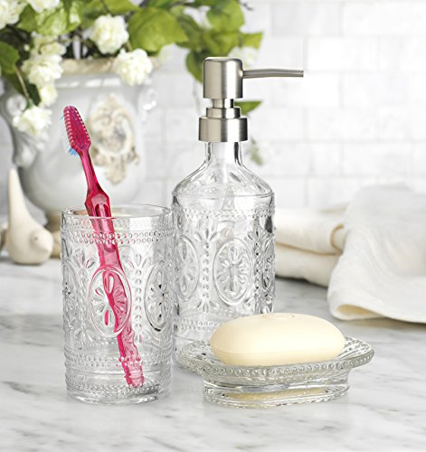 HC Classic Set of 3 Glass Bathroom ~Toothbrush Holder ~ Soap Holder ~ Soap Pump Lotion Dispenser (Clear) ()