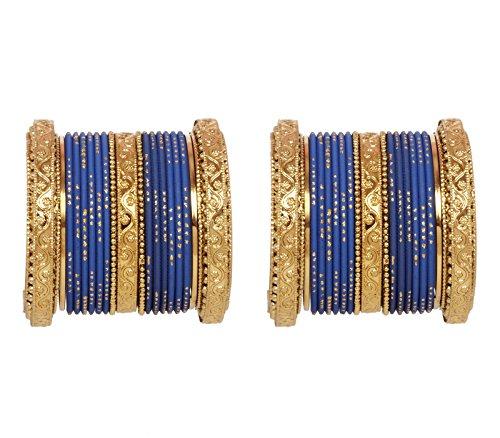 Ratna Bollywood Gold Tone Pearl Flower Designer Ethnic Indian Bangle Bracelet Set Traditional Partywear Wedding Costume Jewelry