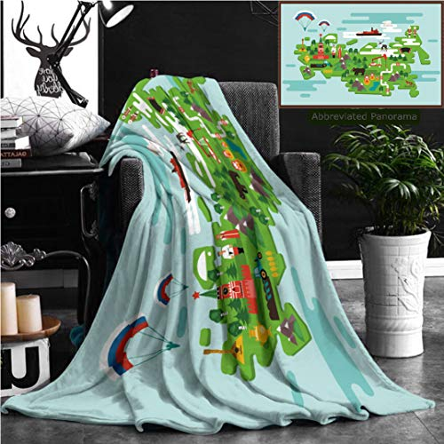 (Unique Custom Flannel Blankets Travel Concept Russia National Symbols National Costumes Famous Attractions Of The Country Super Soft Blanketry for Bed Couch, Twin Size 80