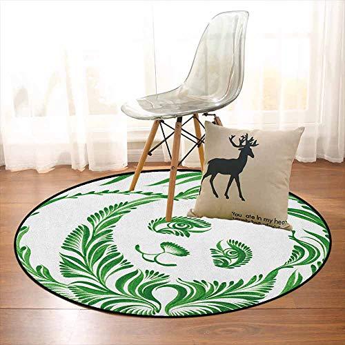 (Modern Children's Bedroom Carpet Ukrainian Folk Art Ceramic Tile Inspired Panda Bear Featured Foliage Illustration Soft Fluffy D35.4 Inch Hunter Green)