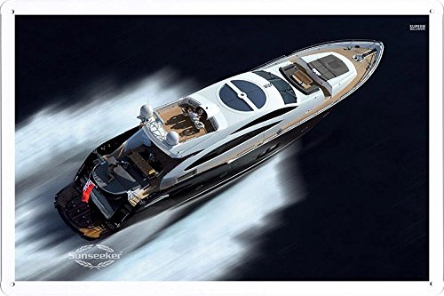 Price comparison product image Sunseeker Predator Sport Motor Yacht 29244 Tin Poster by Food & Beverage Decor Sign