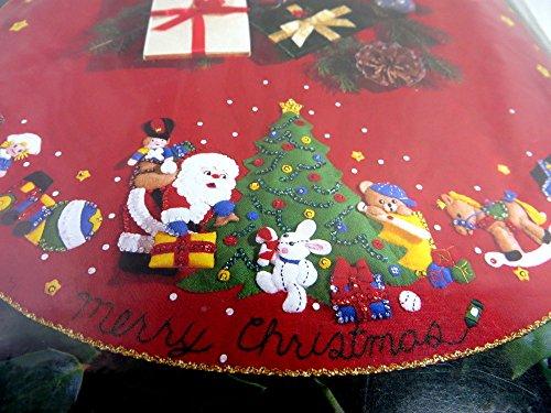 - Bucilla 1993 Santa & Toys Jeweled Felt Applique Christmas Tree Skirt