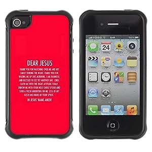 Fuerte Suave TPU GEL Caso Carcasa de Protección Funda para Apple Iphone 4 / 4S / Business Style BIBLE Dear Jesus