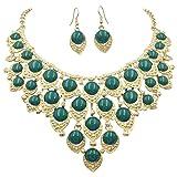 Gypsy Jewels Teardrop Dot Cluster Statement Bib Boutique Style Necklace & Earrings Set - Assorted colors (Dark Green)
