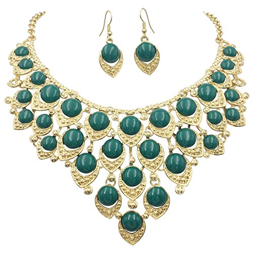 Gypsy Jewels Teardrop Dot Cluster Statement Bib Boutique Style Necklace & Earrings Set - Assorted colors (Dark Green)