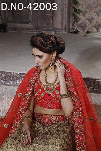 PCC Indian Women Designer Wedding red Lehenga Choli K-4574-40123