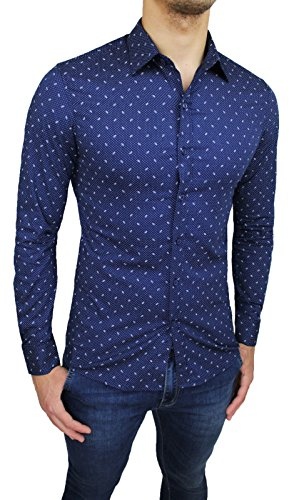 Camicia uomo sartoriale blu fantasia pois super aderente slim fit nuova in cotone casual elegante
