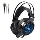 Gaming Headset, Hizek Over-Ear Stereo Wired Gaming Headphones for PC/PS4/Xbox(Microsoft Adapter Not Included) One 3.5mm Noise Cancelling Volume Control, LED Light, Bass Surround Black
