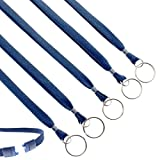 25 Pack - Heavy Duty Breakaway Lanyards with Split Key Ring - Heavy Duty with Break-Away Clasp and Keychain Keyring / ID Holder Attachment at Bottom by Specialist ID (Navy Blue)