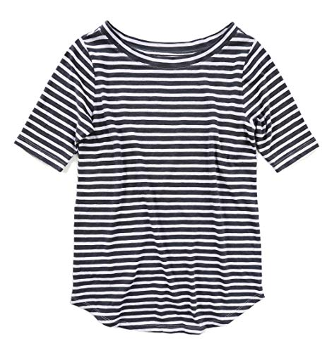 Ann Taylor LOFT Women's Flecked Heather Striped Cotton Tee (Small, Flecked Heather Navy Striped) from Ann Taylor LOFT