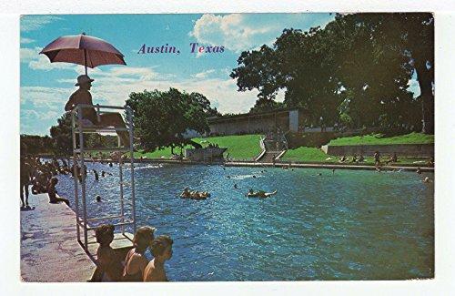 Barton Springs Swimming Pool, Zilker Park, Austin, Texas Vintage Original Postcard #3423 - 1960's Austin Postcard
