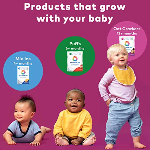 SpoonfulONE Food Allergen Introduction Puffs | Smart Feeding Snack for an Infant or Baby 6+ Months | Certified Organic (Strawberry - 7 Pack)