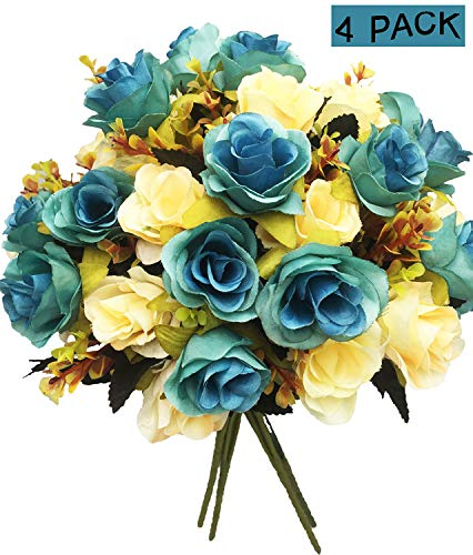 40 Heads Artificial Flower, European Silk Rose Dried Flowers, Arrangement Fake Flower Decoration Bridal Bouquet for Home Wedding Anniversary Party Cemetery Floral Decor Memorial Day Fall (Pack of 4) -
