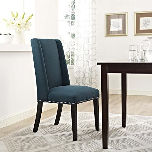 Modway Baron Modern Tall Back Wood Upholstered Fabric Parsons Kitchen and Dining Room Chair with Nailhead Trim in Azure