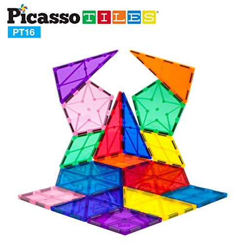 PicassoTiles 16 Piece Magnetic Building Block Set Geometry Shape Magnet Tiles Construction Toy STEM Learning Kit Educational Playset Playboard Pretend Play Stacking Blocks Child Brain Development PT16 ()