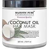 Coconut Oil for Natural Hair Coconut Oil Hair Mask From Majestic Pure Offers Natural Hair Care Treatment, Hydrating & Restorative Mask Restores Shine, Nourishes Scalp & Provides Deep Conditioning for Dry & Damaged Hair, 8.8 fl oz